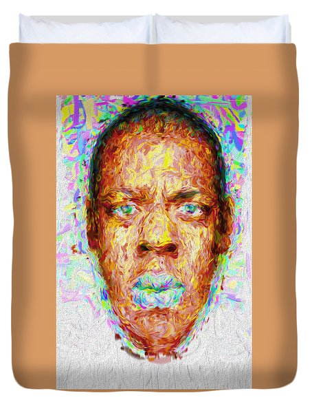 Jay Z Painted Digitally 2 Duvet Cover by David Haskett