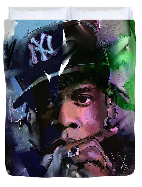 Duvet Cover featuring the painting Jay Z by Richard Day
