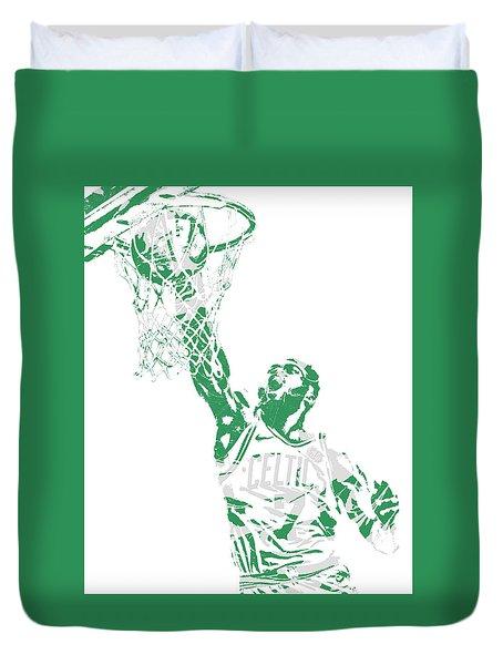 Jaylen Brown Boston Celtics Pixel Art 12 Duvet Cover