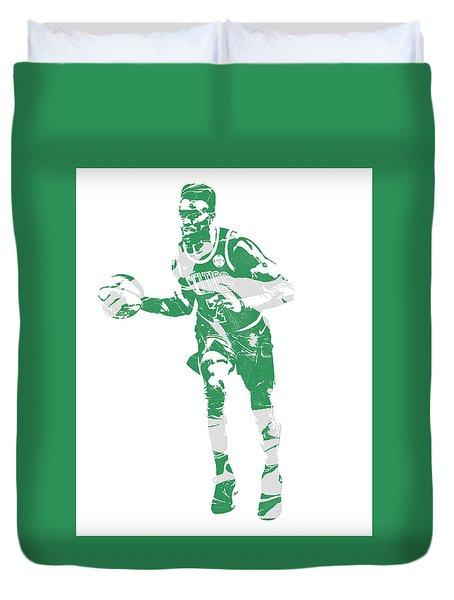 Jaylen Brown Boston Celtics Pixel Art 30 Duvet Cover