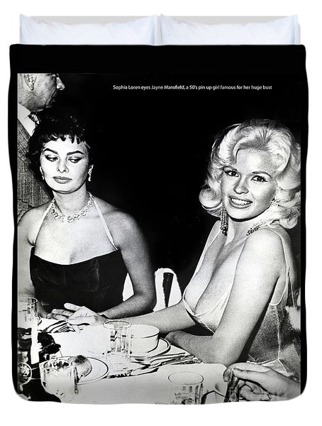 Jayne Mansfield Hollywood  Actress Sophia Loren 1957 Duvet Cover