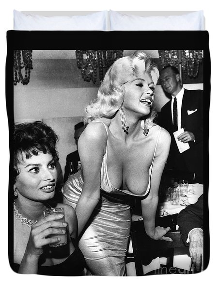 Jayne Mansfield Hollywood Actress And, Italian Actress Sophia Loren 1957 Duvet Cover