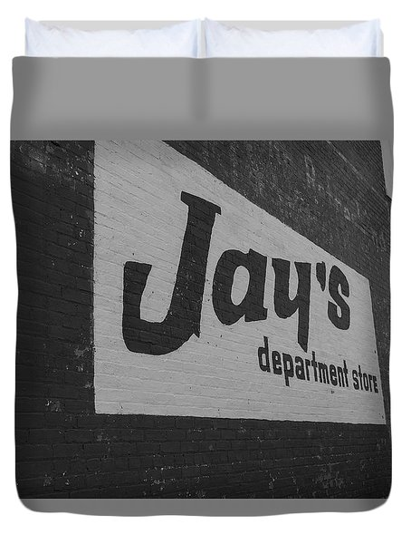 Duvet Cover featuring the photograph Jay's Department Store In Bw by Doug Camara
