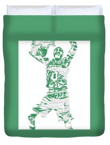 Jayson Tatum Boston Celtics Pixel Art 11 Duvet Cover