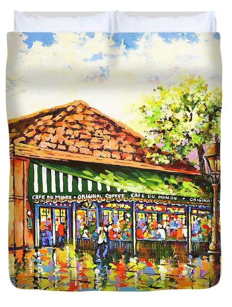 Jazz At Cafe Du Monde Duvet Cover