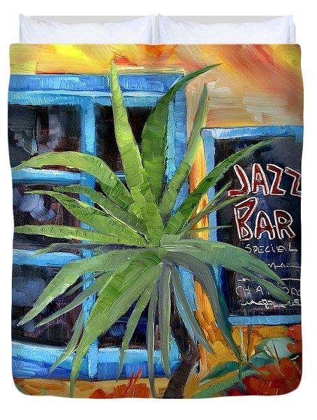 Jazz Bar In Santorini Duvet Cover