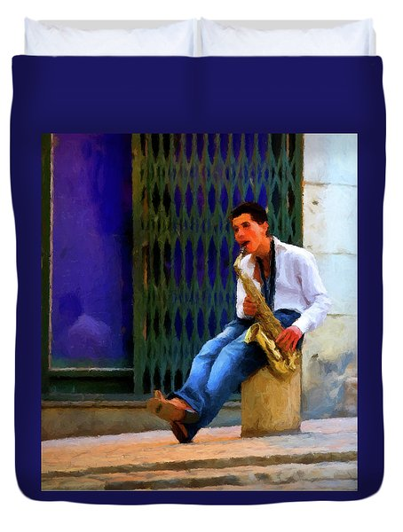 Duvet Cover featuring the photograph Jazz In The Street by David Dehner