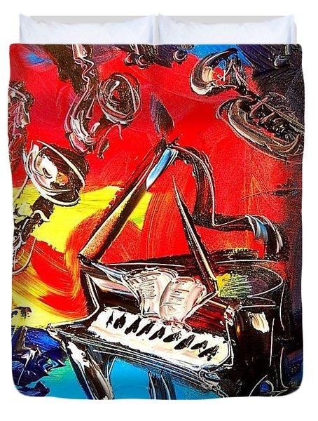 Jazz Piano Duvet Cover by Mark Kazav