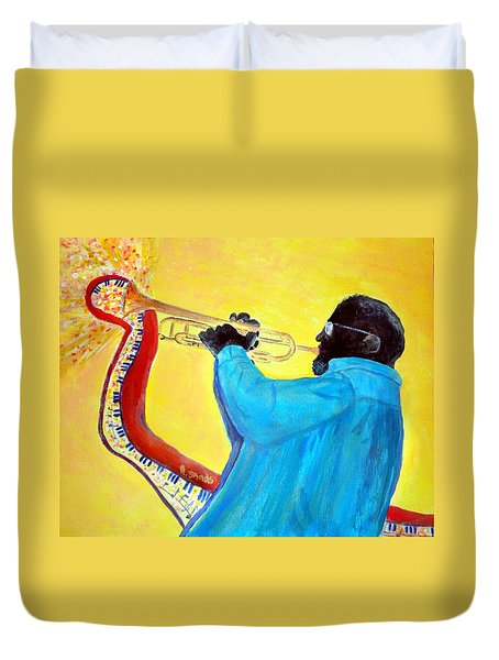 Jazzy Trumpet Player Duvet Cover