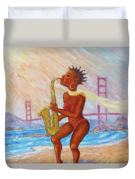 Duvet Cover featuring the painting Jazz San Francisco by Xueling Zou