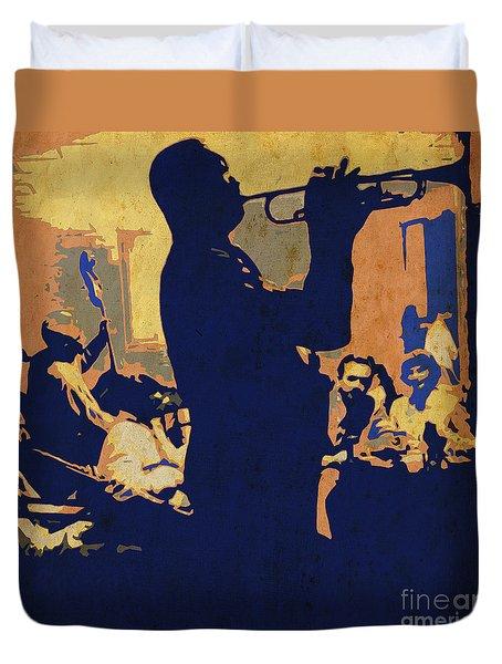 Jazz Trumpet Player Duvet Cover