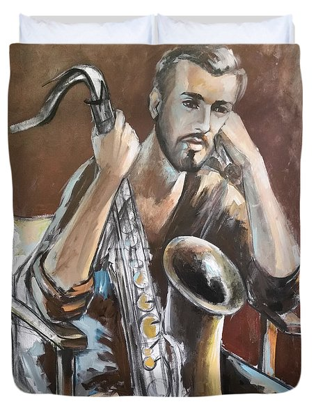 Jazz.saxophone Player Painting  Duvet Cover