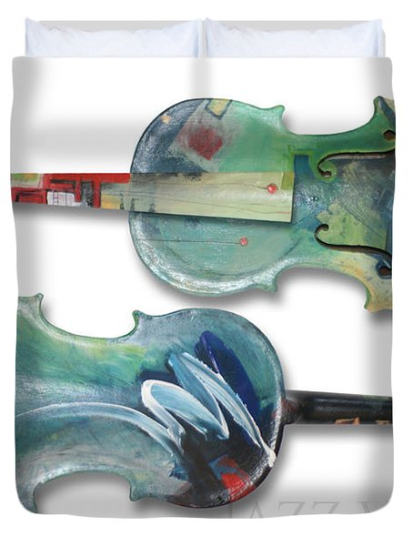 Jazz Violin - Poster Duvet Cover by Tim Nyberg