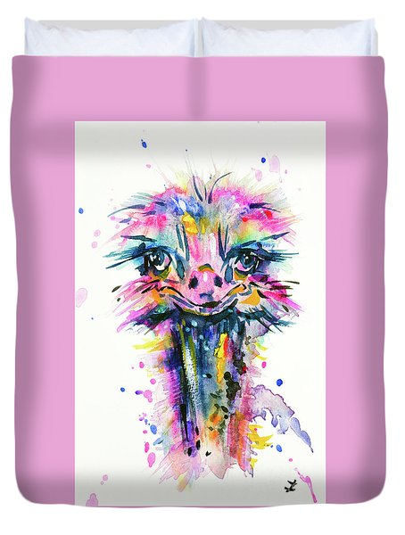 Duvet Cover featuring the painting Jazzzy Ostrich by Zaira Dzhaubaeva