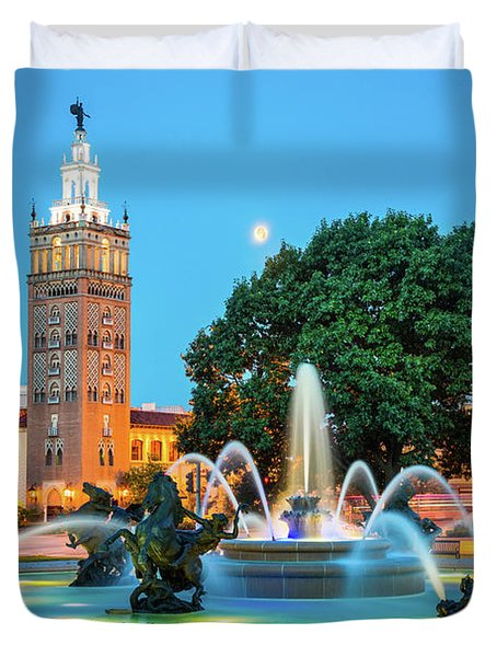 J.c. Nichols Memorial Fountain Duvet Cover