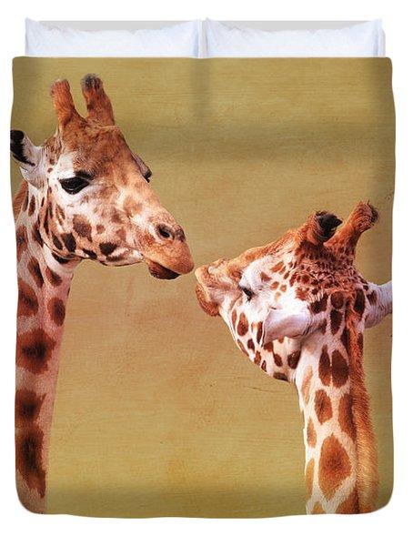 Je T'aime Giraffes Duvet Cover by Terri Waters
