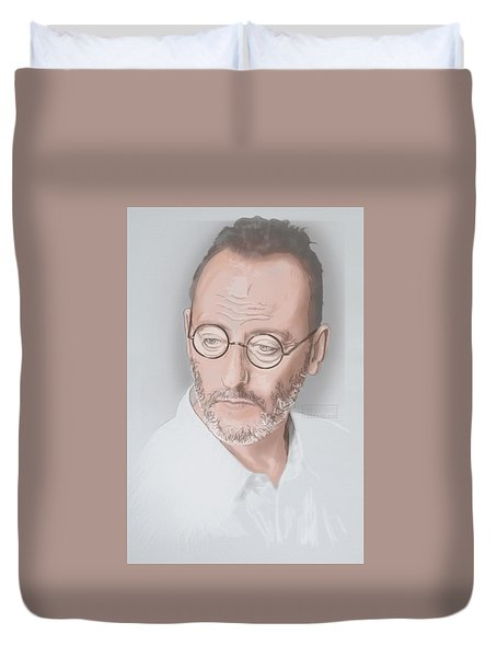Duvet Cover featuring the mixed media Jean Reno by TortureLord Art