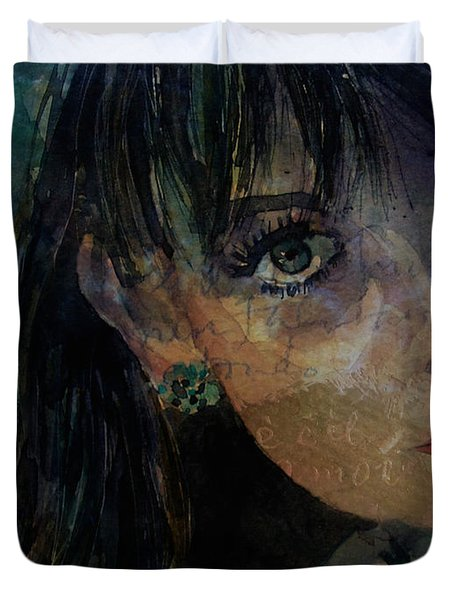 Duvet Cover featuring the painting Jean Shrimpton by Paul Lovering