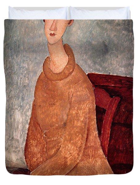 Jeanne Hebuterne In A Yellow Jumper Duvet Cover by Amedeo Modigliani