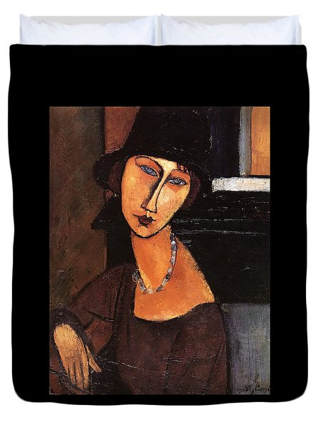 Jeanne Hebuterne With Hat And Necklace Duvet Cover