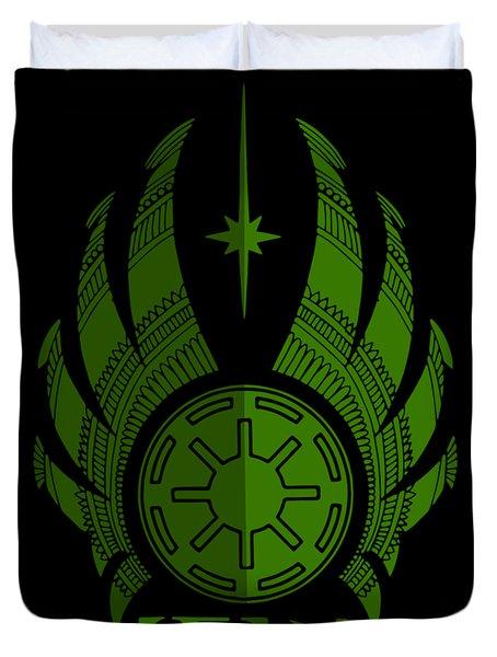 Jedi Symbol - Star Wars Art, Green Duvet Cover