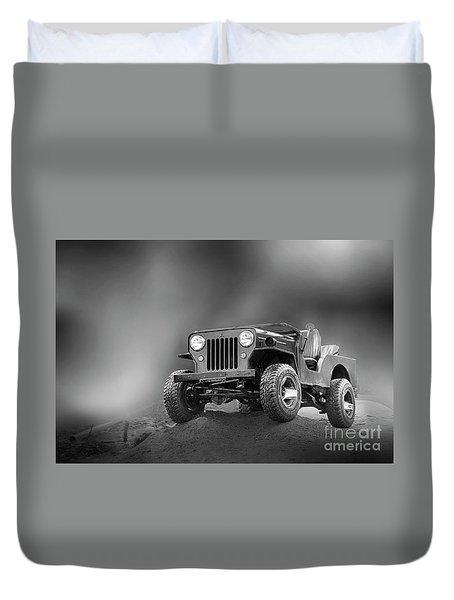 Duvet Cover featuring the photograph Jeep Bw by Charuhas Images