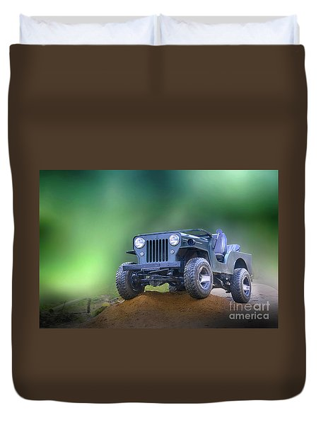 Duvet Cover featuring the photograph Jeep by Charuhas Images