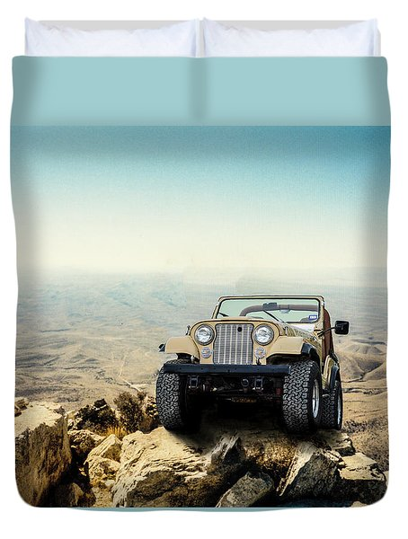 Jeep On A Mountain Duvet Cover