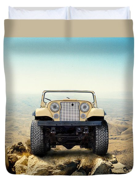 Jeep On Mountain Duvet Cover