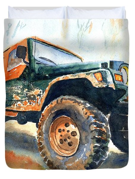 Jeep Wrangler Watercolor Duvet Cover