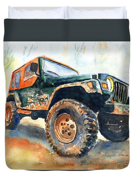 Jeep Wrangler Watercolor Duvet Cover