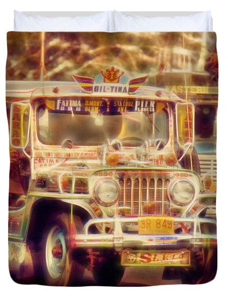 Jeepney Manila Duvet Cover by David French