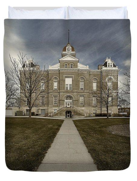 Jefferson County Courthouse In Fairbury Nebraska Rural Duvet Cover