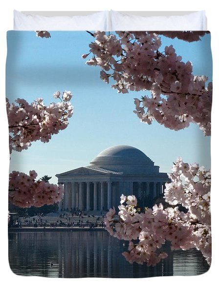 Jefferson Memorial At Cherry Blossom Time On The Tidal Basin Ds008 Duvet Cover
