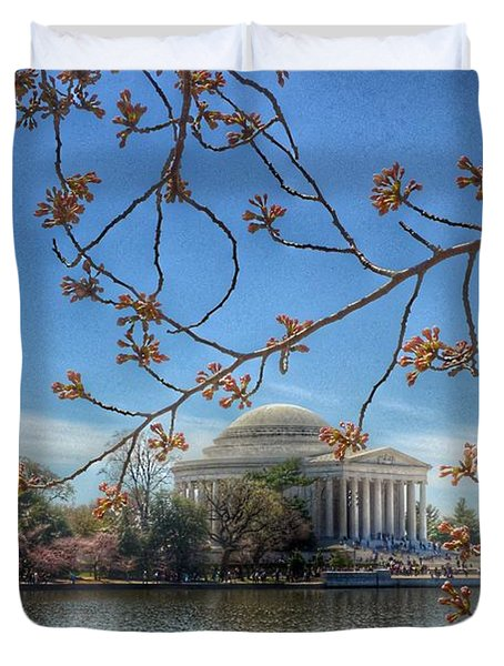 Jefferson Memorial - Cherry Blossoms Duvet Cover by Marianna Mills