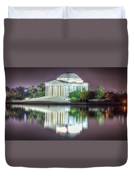 Duvet Cover featuring the photograph Jefferson Memorial, Night by Ross Henton