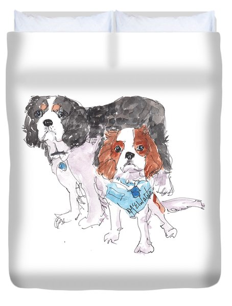 Jeffs Dogs Watercolor Kmcelwaine  Duvet Cover
