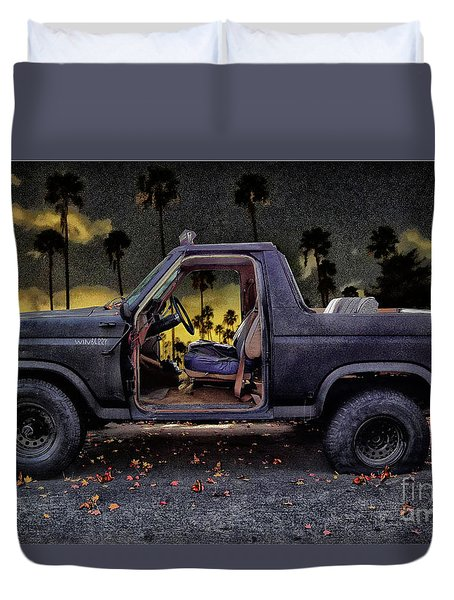 Jeff's Jeep And The Fallen Leaves Duvet Cover by Bob Winberry