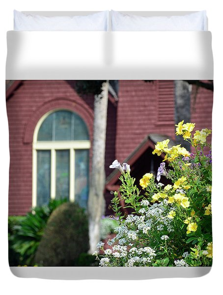 Duvet Cover featuring the photograph Jekyll Island Chapel And Flowers by Bruce Gourley