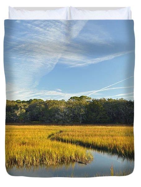Jekyll Island Marsh High Tide And Sky Duvet Cover by Bruce Gourley