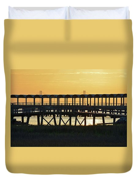 Jekyll Island Pier At Sunset Duvet Cover by Bruce Gourley