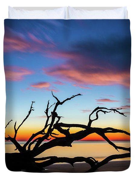 Jekyll Island Sunrise On Driftwood Beach Duvet Cover
