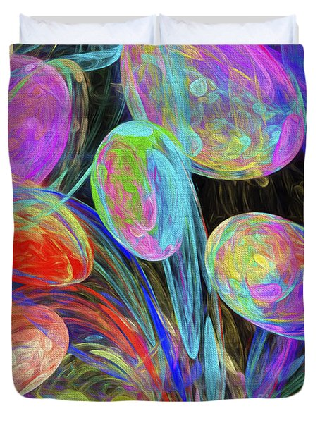 Duvet Cover featuring the digital art Jelly Beans And Balloons Abstract by Andee Design