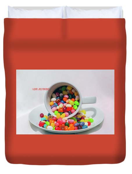 Duvet Cover featuring the photograph Jelly Beans by Carolyn Dalessandro