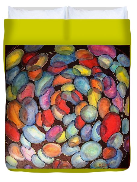 Duvet Cover featuring the painting Jelly Beans Of Life by Rae Chichilnitsky
