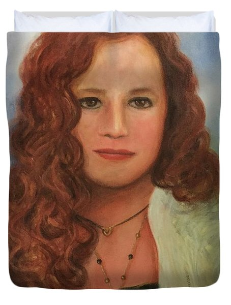 Duvet Cover featuring the painting Jennifer by Randol Burns