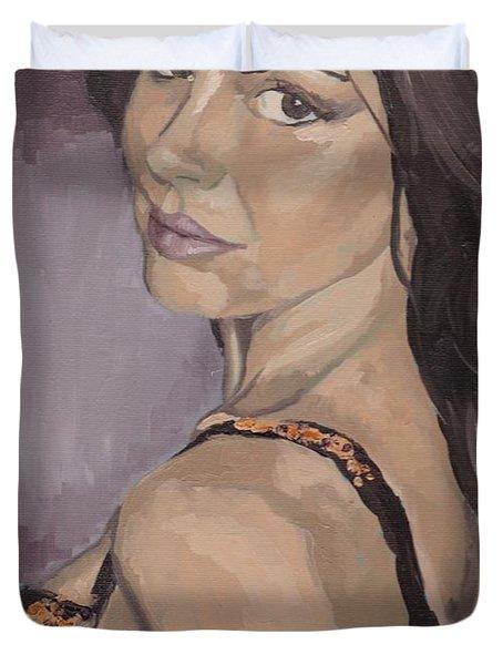 Jenny In Black Duvet Cover