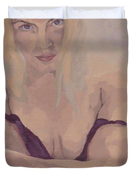 Jenny In Purple Duvet Cover