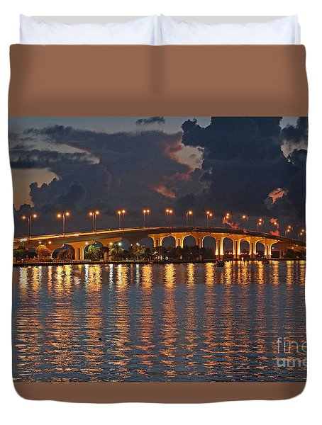 Duvet Cover featuring the photograph Jensen Beach Causeway by Tom Claud