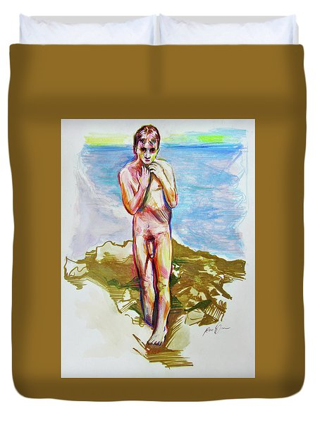 Jeremy At The Beach Duvet Cover